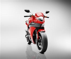 红色摩托车正面高清摄影图片