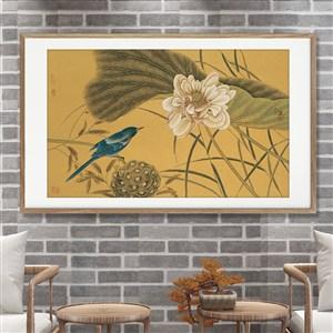 中式蓮花與翠鳥圖片