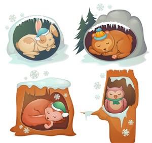4款卡通冬眠动物矢量素材