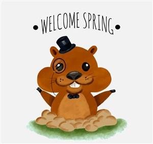 可愛迎接春天的土撥鼠矢量素材