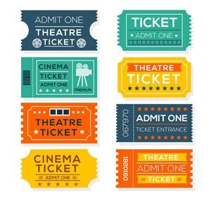 8款彩色电影票设计矢量素材