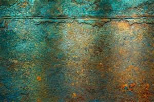 孔雀綠斑駁的墻面背景高清圖片