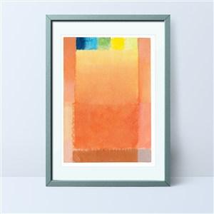 橙色抽象色塊裝飾畫