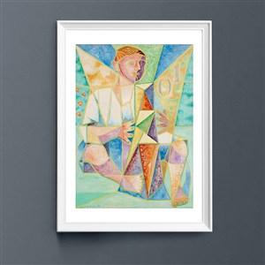 現代唯美色彩彈豎琴的人裝飾畫