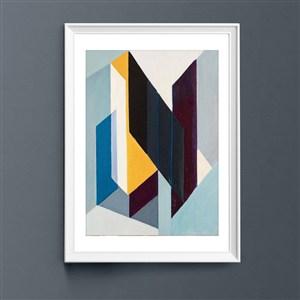 現代菱形抽象室內客廳裝飾畫