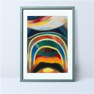 水墨太陽彩虹裝飾畫