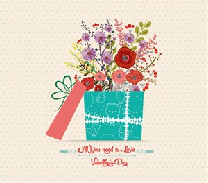唯美礼盒矢量花卉背景