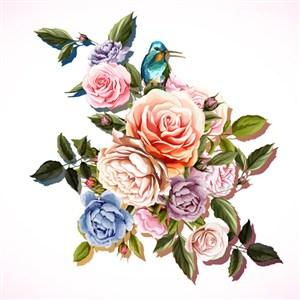 唯美时尚花卉花鸟元素
