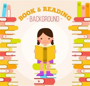 卡通坐在书堆上读书的女孩矢量素材