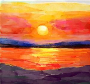 美丽海边落日风景矢量图