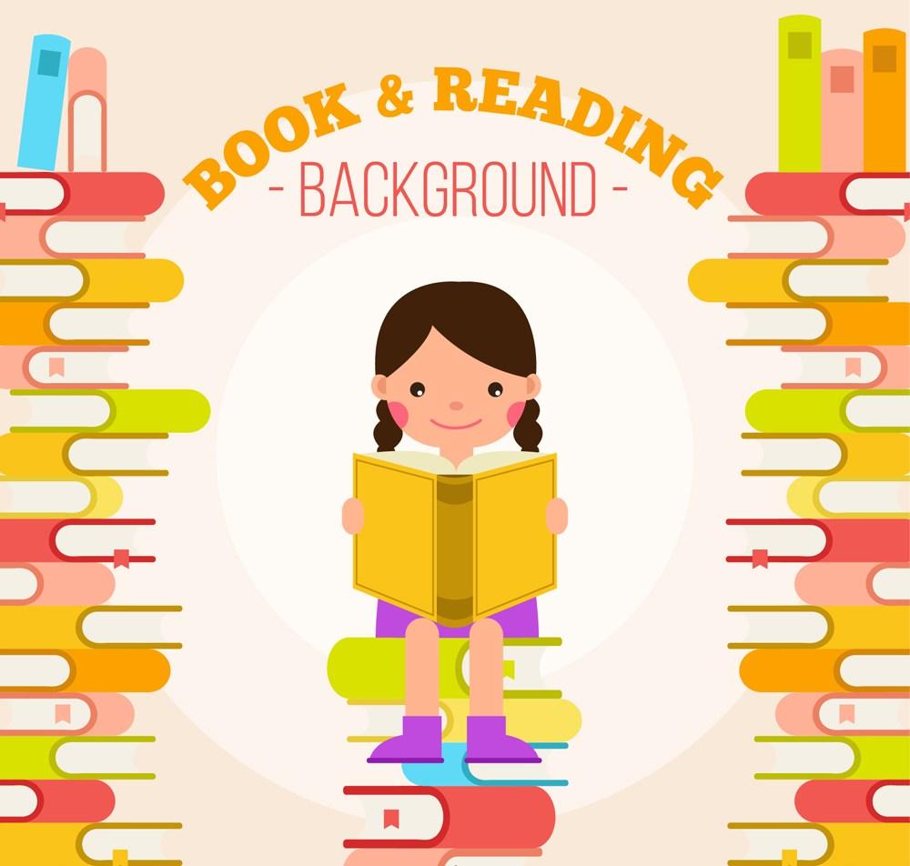 卡通坐在書堆上讀書的女孩矢量素材