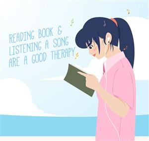 卡通边听音乐边读书的女孩矢量素材