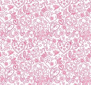 粉色愛心元素無縫背景矢量素材