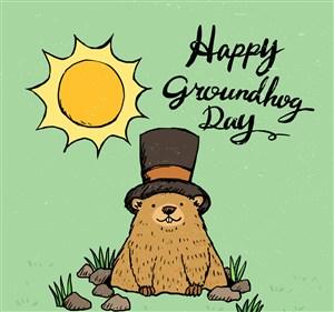 彩繪太陽下戴禮帽的土撥鼠矢量素材