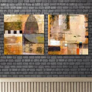 現代抽象復古牛皮紙色調畫風裝飾畫