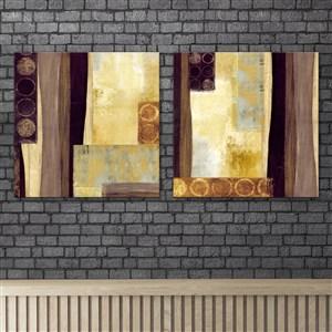 點線面抽象復古棕色調裝飾畫