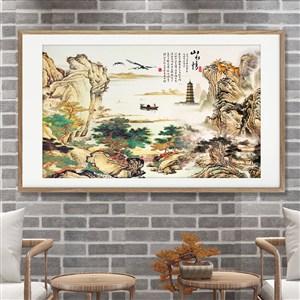 山水情中式詩畫裝飾畫