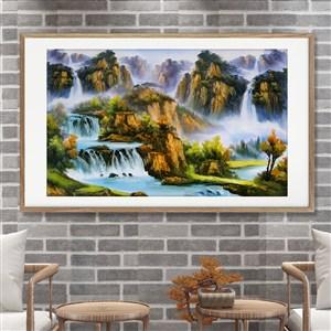 山水瀑布中式裝飾畫