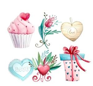 6款水彩绘爱的礼物矢量图纸杯蛋糕礼物礼盒