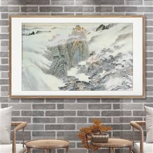 淡雅清新山水白霧裝飾畫