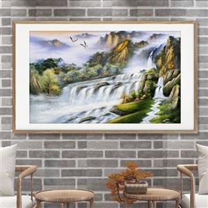大型瀑布與白鷺裝飾畫