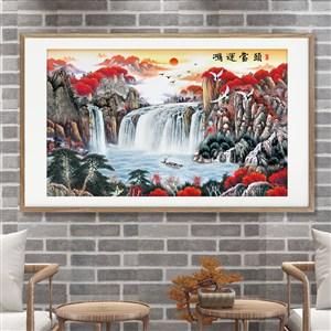 鴻運當頭紅色森林與瀑布裝飾畫