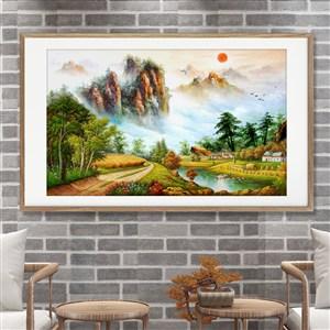 彩繪中式山水森林夕陽風景畫