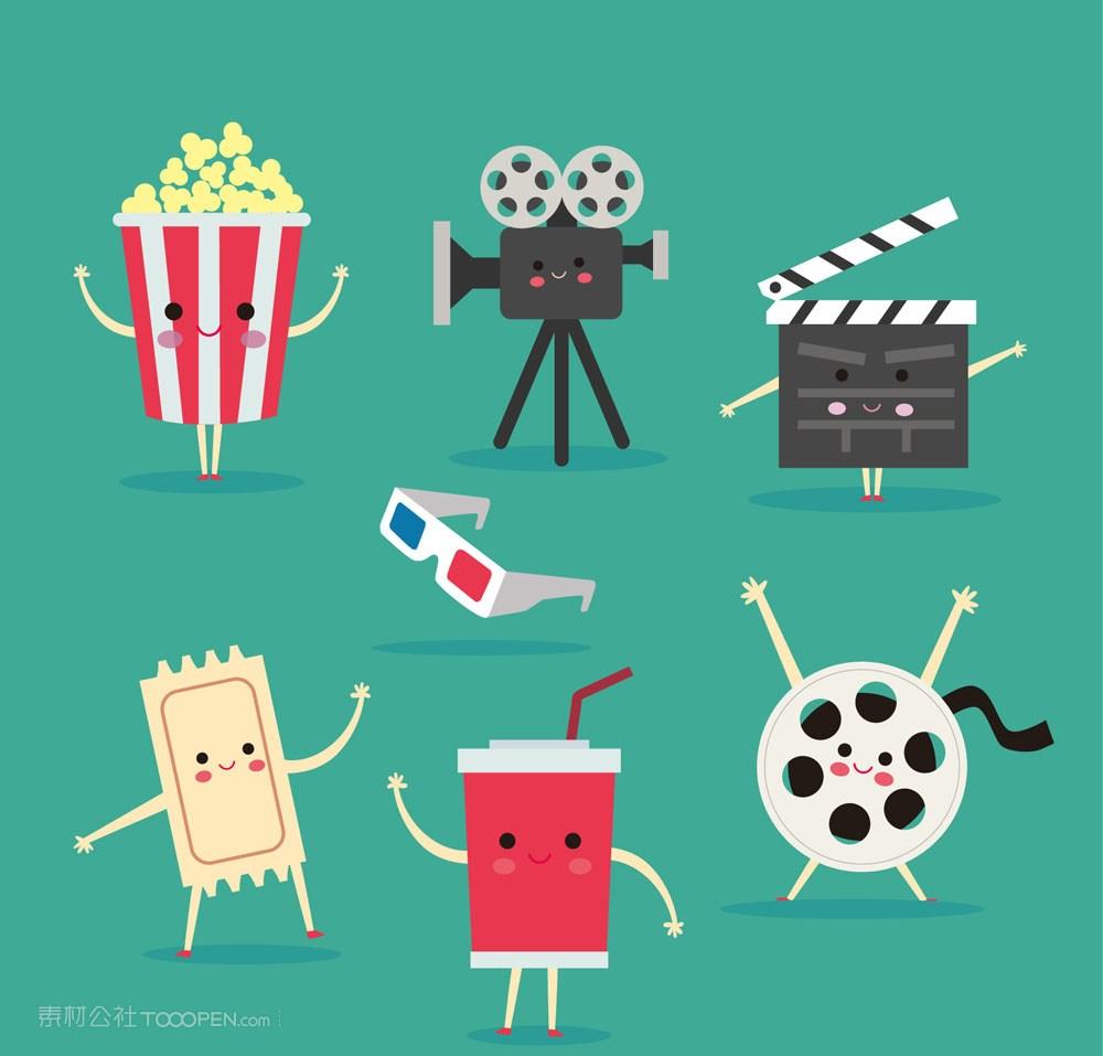 7款可爱表情电影院元素矢量图