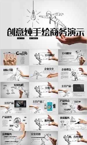 創意手勢手繪公司介紹ppt模板